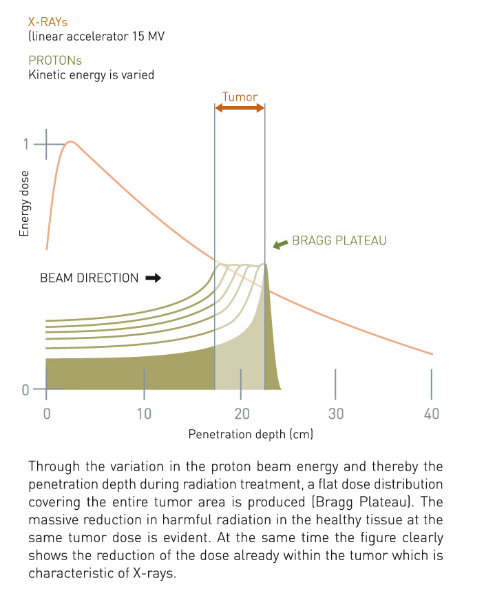 Penetration depth of protons